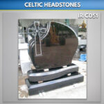Black Flamed Cross Headstone