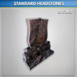 Shield Pitched Aurora granite headstone