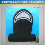 Black gothic headstone Carved